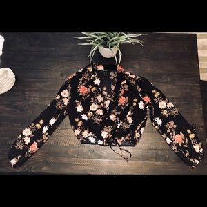 F21 Floral blazer styled top